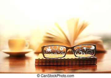 Glasses with business icons