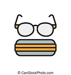 Glasses with case flat color line icon.