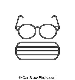 Glasses with case line icon.