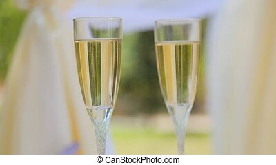 Glasses with champagne close up