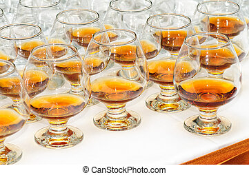 glasses with cognac or brandy