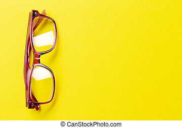glasses with diopters on the table