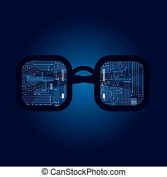 Glasses with electronic circuit