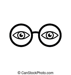 glasses with eye icon. see icon