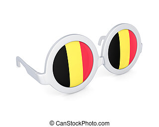 Glasses with flag of Belgium.