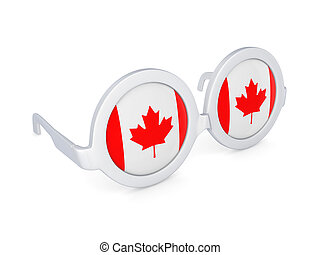 Glasses with flag of Canada.