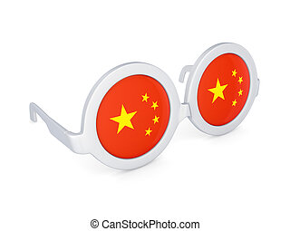 Glasses with flag of China.