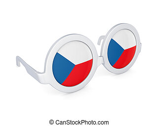 Glasses with flag of Czech Republic.