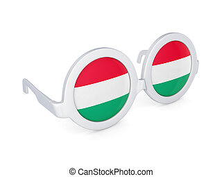 Glasses with flag of Hungary.
