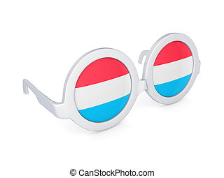 Glasses with flag of luxembourg.
