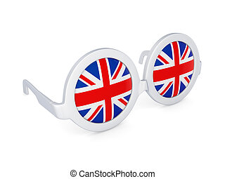 Glasses with flag of UK.