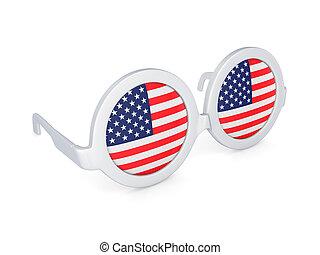 Glasses with flag of USA.