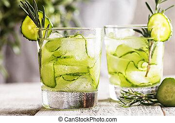 detox cucumber water - Glasses with fresh organic detox...