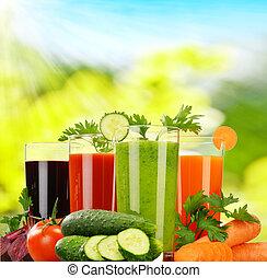 Glasses with fresh vegetable juices. Detox diet.