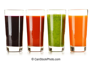 Glasses with fresh vegetable juices isolated on white. Detox...