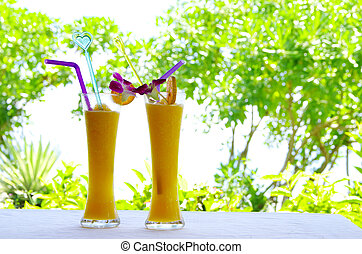 juice - glasses with juice and lemon