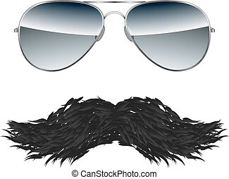 Glasses with Mustache isolated on white background vector