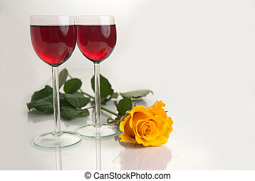 Glasses with Red Wine on White