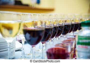 glasses with wine,catering banquet table, catering, buffet, glasses with juice, champagne glasses, new year,winery, restaurant, celebrate