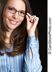 Glasses Woman - Beautiful smiling woman wearing glasses