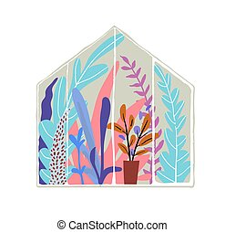 Glasshouse with plants and many flowers inside. Flat vector ...