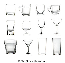 Glassware collection isolated of picture big size.