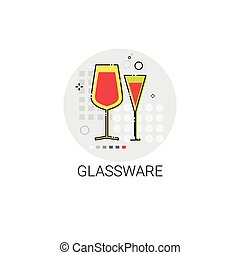 Glassware Cooking Glass Dishes Utensils Icon Vector...