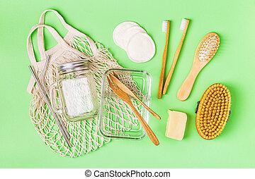 Glassware, cotton bag and personal care items. - Glassware, ...