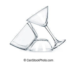 Glassware isolated on a white background