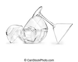 Glassware on a white background