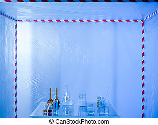 glassware prepared for experimenting in the lab