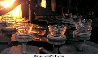Glassware production line on the plant
