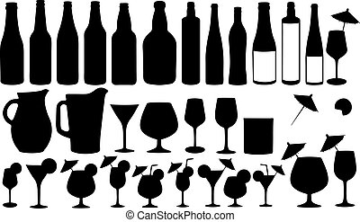 set of bottles and glasses