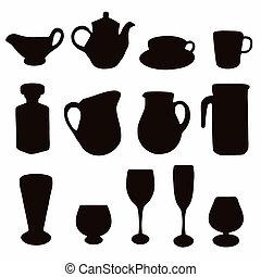 Various glassware silhouettes
