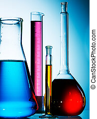 glassware, sortido, equipamento laboratório