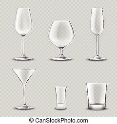Glassware Transparent Set - Empty alcohol drinks glassware...