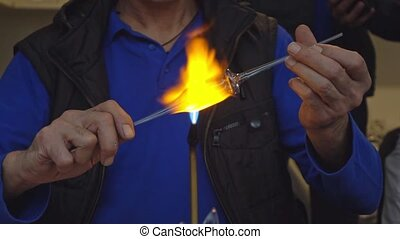 Glassworks manufacturing process. Handcraft poduction of...