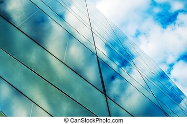 Glassy Architecture. Modern Commercial Building Glass Wall...