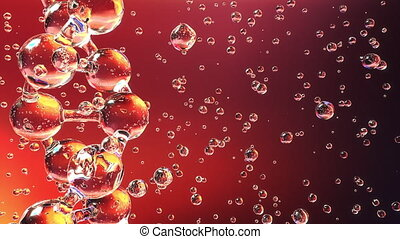 Glassy DNA molecule and floating particles against red...