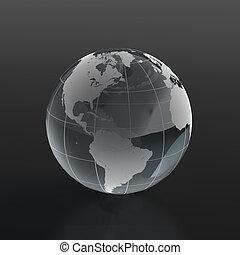 Glassy globe - 3d render of globe made of glass on black ...