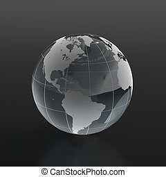Glassy globe - 3d render of globe made of glass on black...