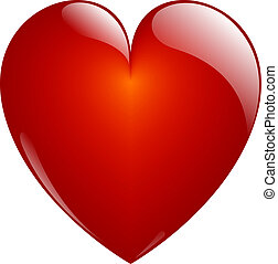 Glassy Red Heart Button on White. Isolated with Clipping Path.