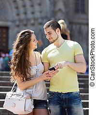 glatt par, användande, den, karta, hos, smartphone