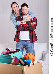 glatt par, in, nytt hem