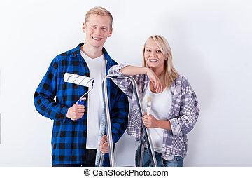glatt par, klar, för, förnyelse hemma
