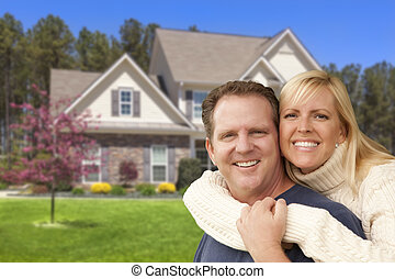 glatt par, krama, framme av, hus
