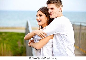 glatt par, omfamna, medan, i parken