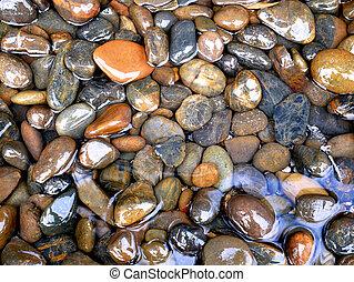 glatt, steine, in, wasser