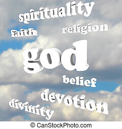 glaube, göttlichkeit, geistigkeit, gott, religion, wörter, ...