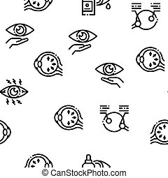 Glaucoma Ophthalmology Seamless Pattern Vector Thin Line. ...